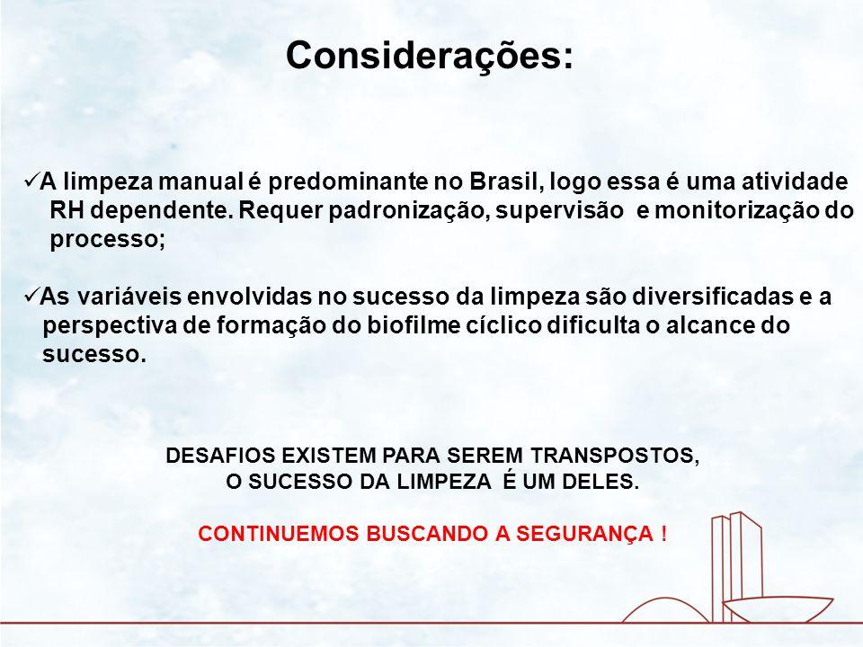 Considerações: A limpeza manual é predominante no Brasil, logo essa é uma atividade RH dependente. Requer padronização, supervisão e monitorização do