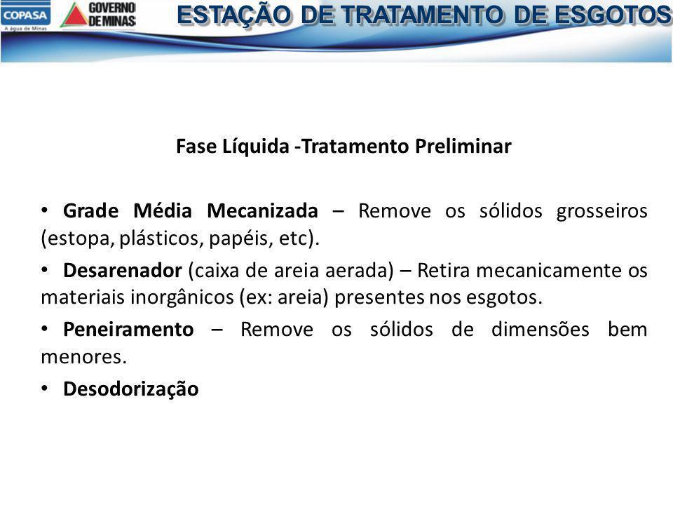 Fase Líquida -Tratamento Preliminar Grade Média Mecanizada – Remove os sólidos grosseiros (estopa, plásticos, papéis, etc). Desarenador (caixa de arei