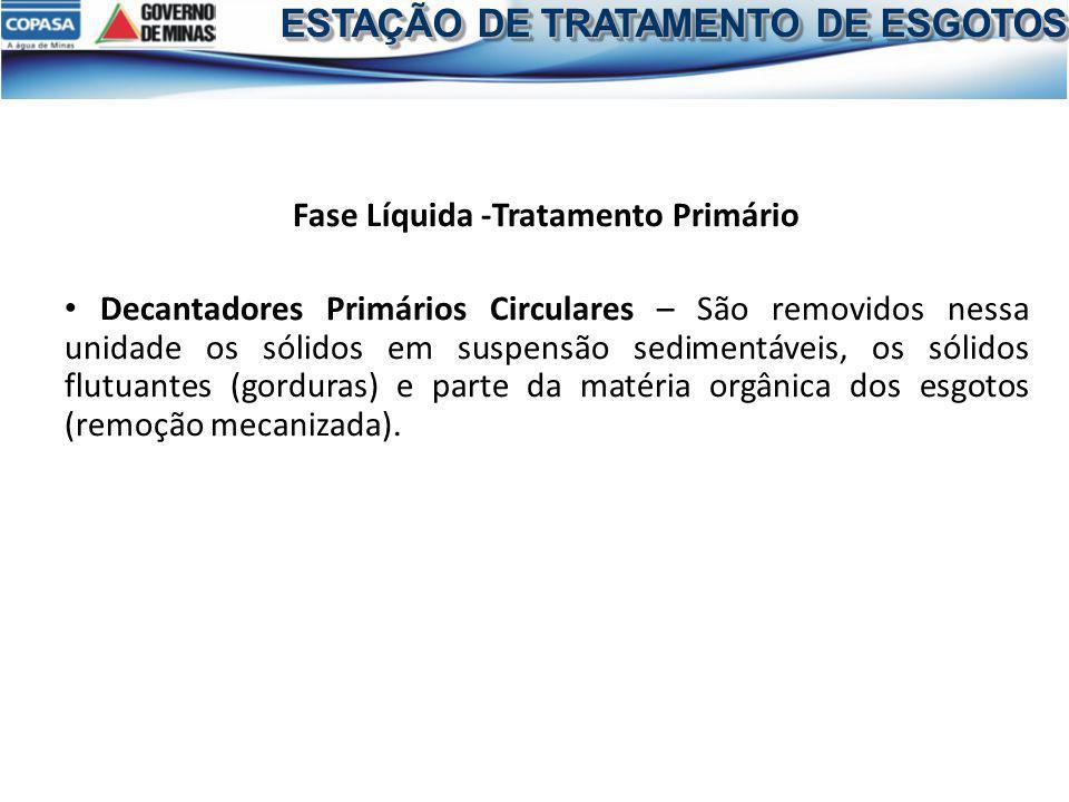 Fase Líquida -Tratamento Primário Decantadores Primários Circulares – São removidos nessa unidade os sólidos em suspensão sedimentáveis, os sólidos fl