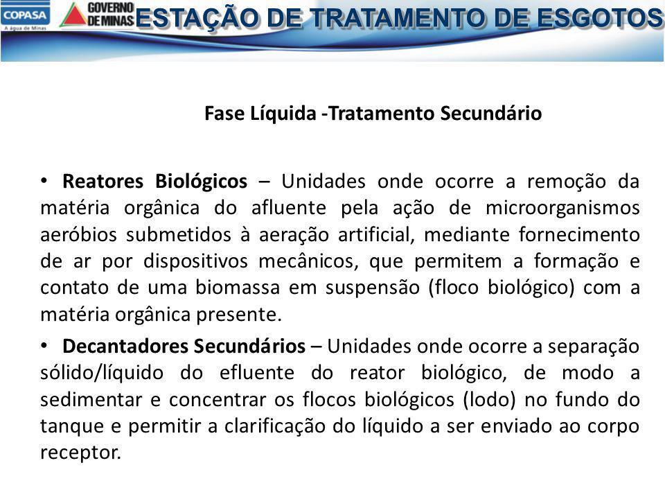 Fase Líquida -Tratamento Secundário Reatores Biológicos – Unidades onde ocorre a remoção da matéria orgânica do afluente pela ação de microorganismos