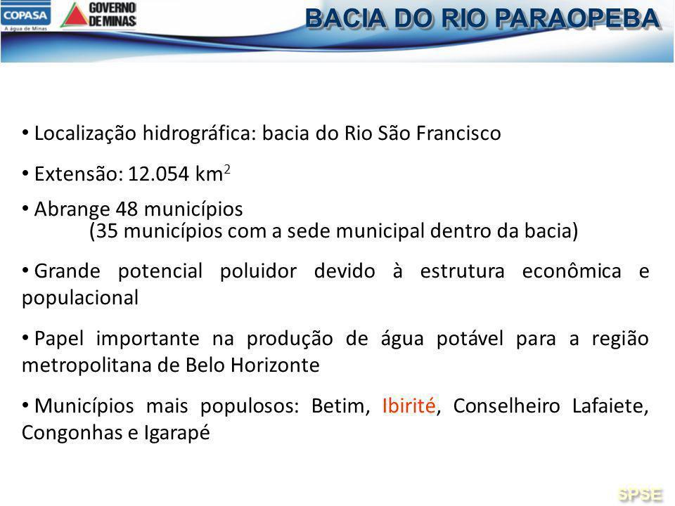 Localização hidrográfica: bacia do Rio São Francisco Extensão: 12.054 km 2 Abrange 48 municípios (35 municípios com a sede municipal dentro da bacia)