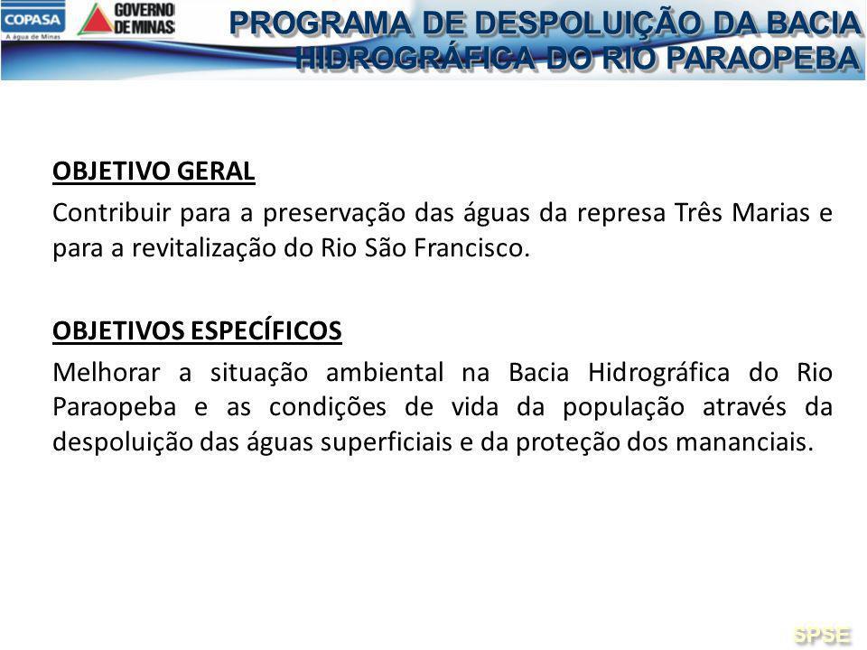 OBJETIVO GERAL Contribuir para a preservação das águas da represa Três Marias e para a revitalização do Rio São Francisco. OBJETIVOS ESPECÍFICOS Melho