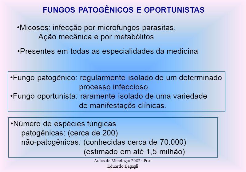 Aulas de Micologia 2002 - Prof Eduardo Bagagli FUNGOS PATOGÊNICOS E OPORTUNISTAS Micoses: infecção por microfungos parasitas. Ação mecânica e por meta