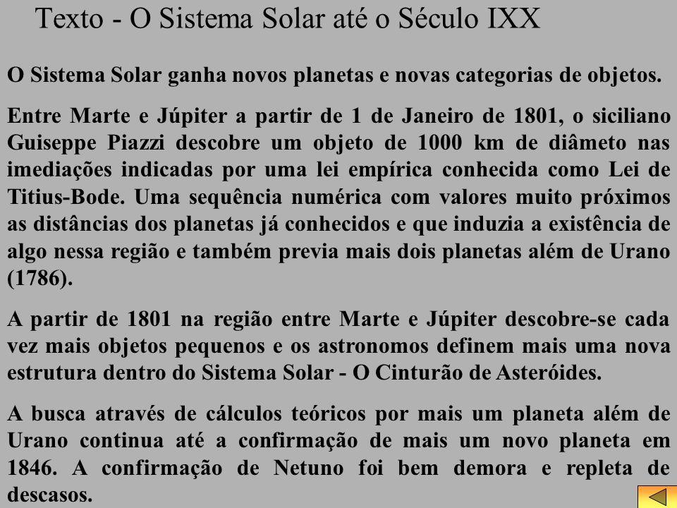 Texto - O Sistema Solar até o Século IXX O Sistema Solar ganha novos planetas e novas categorias de objetos. Entre Marte e Júpiter a partir de 1 de Ja