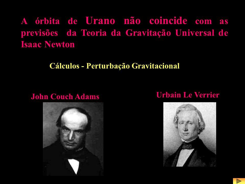 John Couch Adams e Urbain Le Verrier A órbita de Urano não coincide com as previsões da Teoria da Gravitação Universal de Isaac Newton John Couch Adam