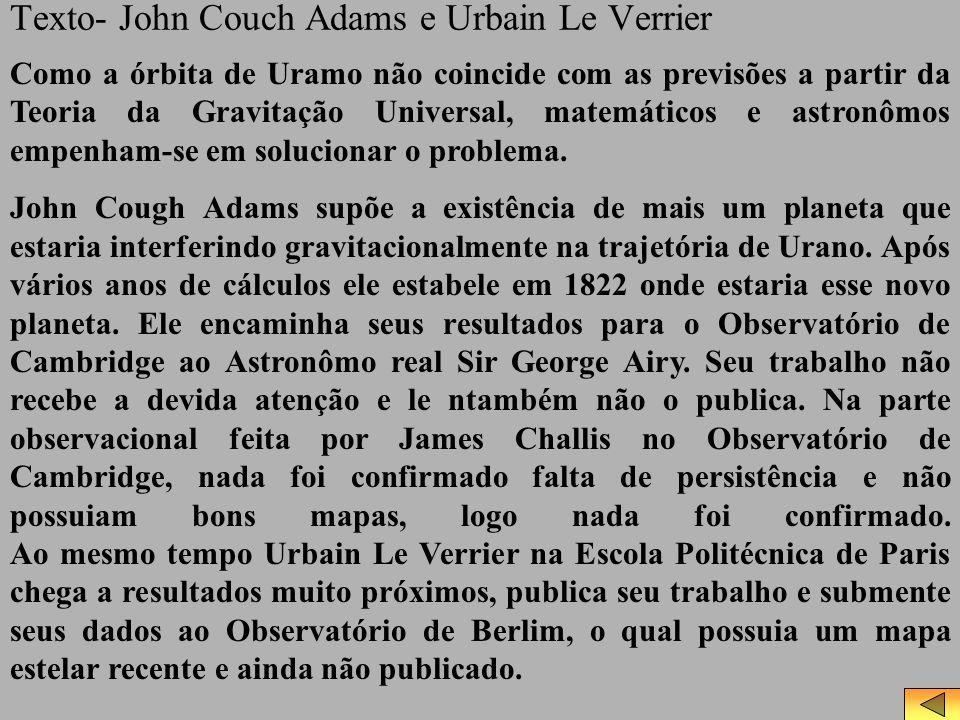 Texto- John Couch Adams e Urbain Le Verrier Como a órbita de Uramo não coincide com as previsões a partir da Teoria da Gravitação Universal, matemátic