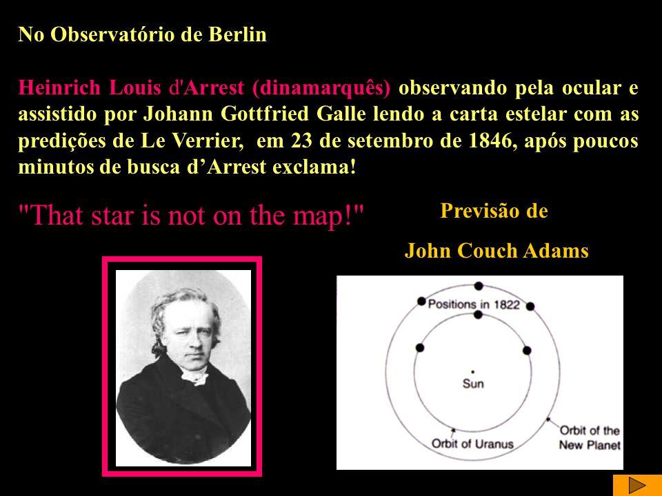 DArrest e Galle No Observatório de Berlin Heinrich Louis d'Arrest (dinamarquês) observando pela ocular e assistido por Johann Gottfried Galle lendo a
