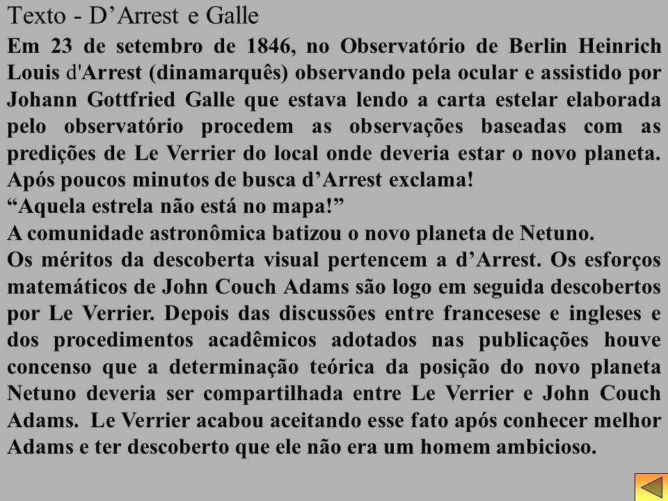 Texto - DArrest e Galle Em 23 de setembro de 1846, no Observatório de Berlin Heinrich Louis d'Arrest (dinamarquês) observando pela ocular e assistido
