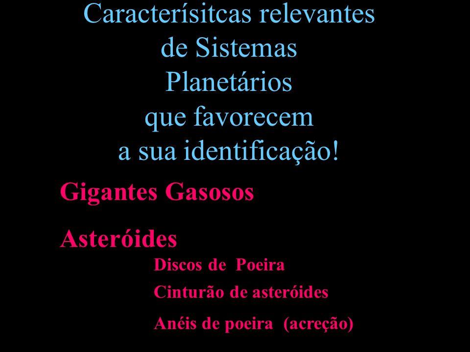 Gigantes Gasosos Asteróides Discos de Poeira Cinturão de asteróides Anéis de poeira (acreção) Caracterísitcas relevantes de Sistemas Planetários que f