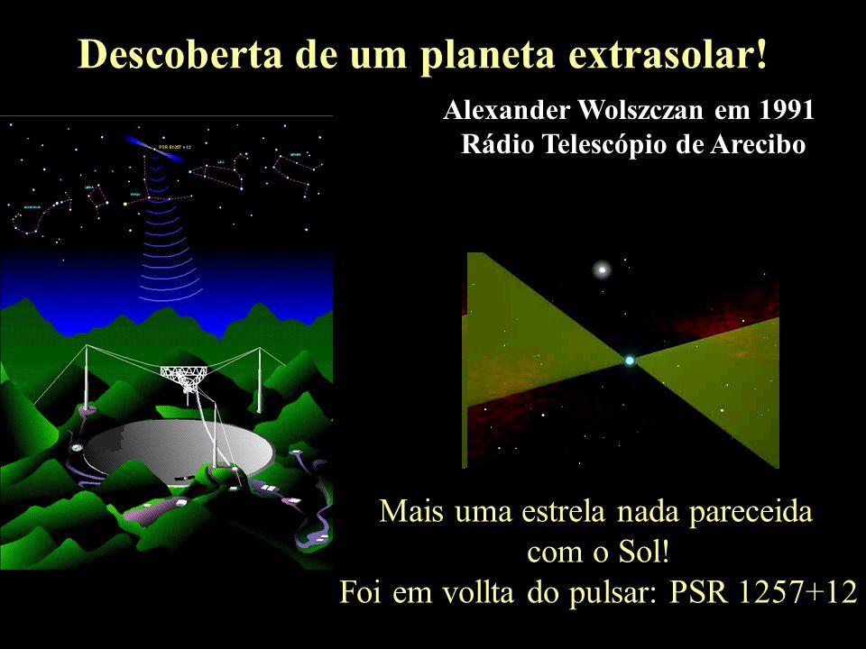 A descoberta de um planeta extrasolar Descoberta de um planeta extrasolar! Mais uma estrela nada pareceida com o Sol! Foi em vollta do pulsar: PSR 125