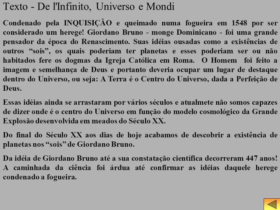 Texto - De l'Infinito, Universo e Mondi Condenado pela INQUISIÇÃO e queimado numa fogueira em 1548 por ser considerado um herege! Giordano Bruno - mon