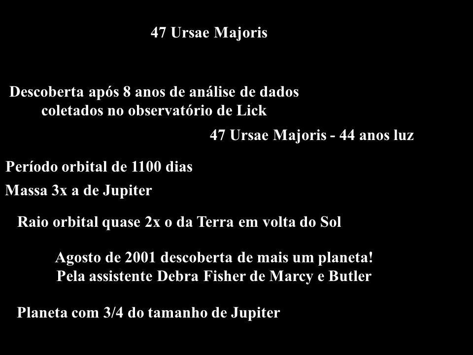 47 Ursae Majoris Descoberta após 8 anos de análise de dados coletados no observatório de Lick Período orbital de 1100 dias Massa 3x a de Jupiter Raio
