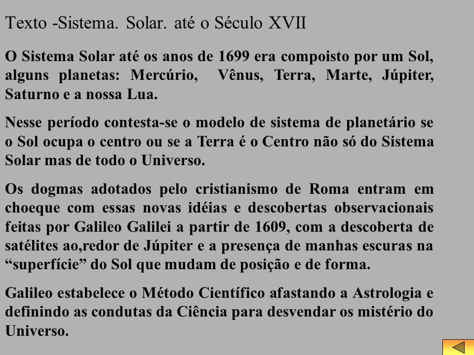 Texto -Sistema. Solar. até o Século XVII O Sistema Solar até os anos de 1699 era compoisto por um Sol, alguns planetas: Mercúrio, Vênus, Terra, Marte,