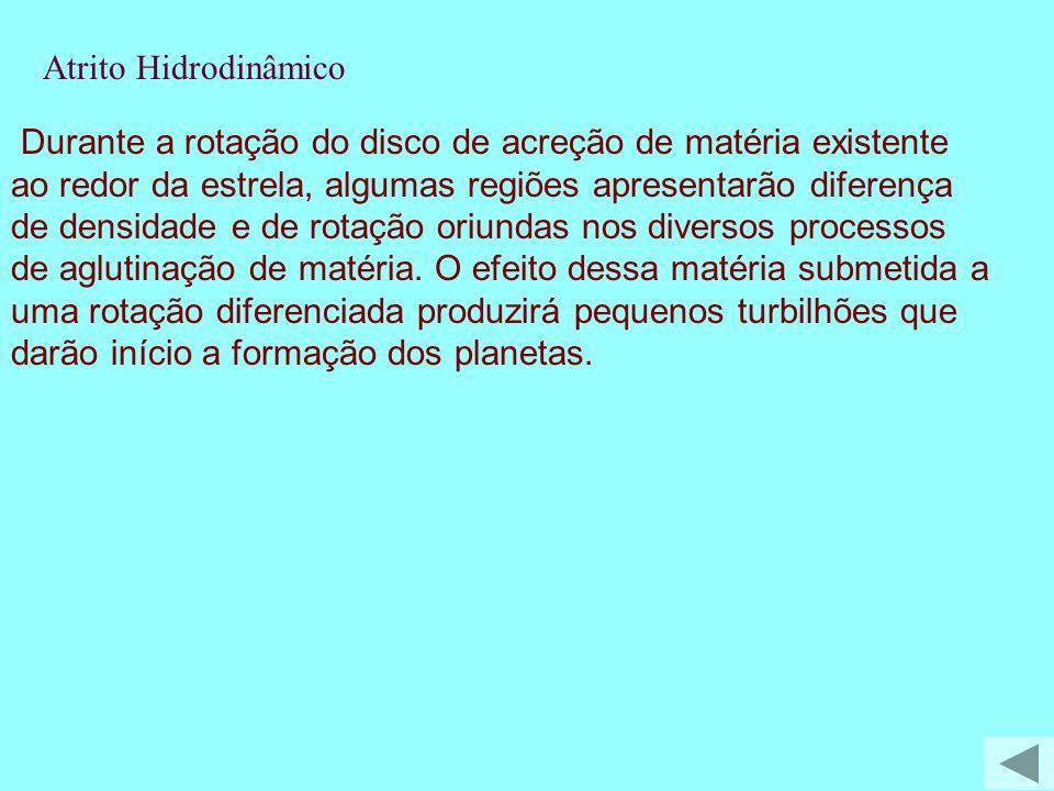 Durante a rotação do disco de acreção de matéria existente ao redor da estrela, algumas regiões apresentarão diferença de densidade e de rotação oriun