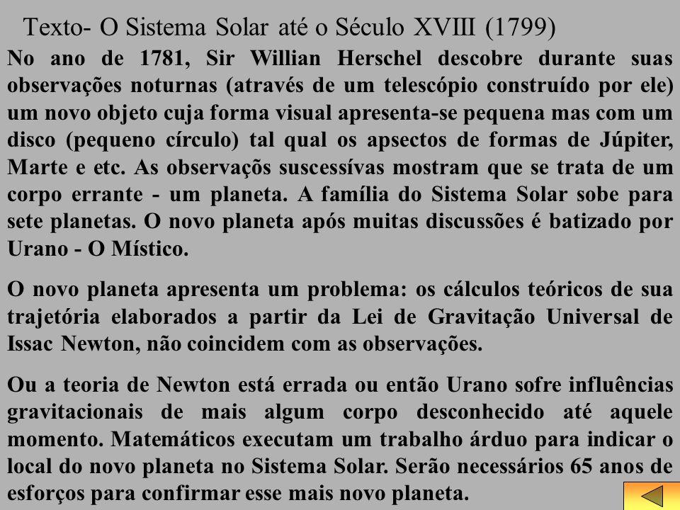 Texto- O Sistema Solar até o Século XVIII (1799) No ano de 1781, Sir Willian Herschel descobre durante suas observações noturnas (através de um telesc