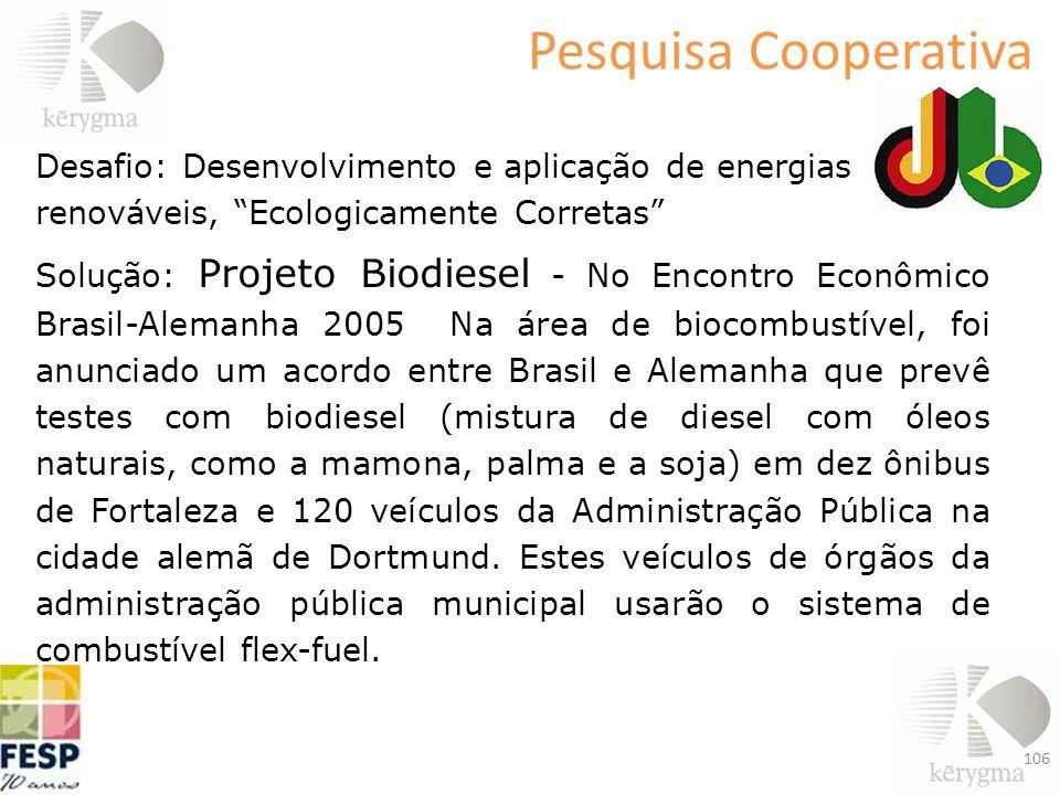 Desafio: Desenvolvimento e aplicação de energias renováveis, Ecologicamente Corretas Solução: Projeto Biodiesel - No Encontro Econômico Brasil-Alemanh