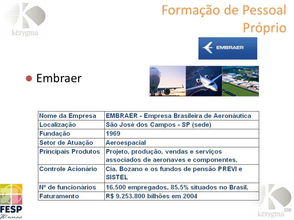 Formação de Pessoal Próprio Embraer 108