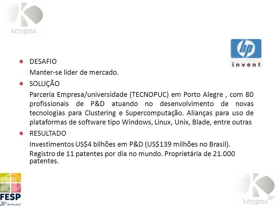 DESAFIO Manter-se líder de mercado. SOLUÇÃO Parceria Empresa/universidade (TECNOPUC) em Porto Alegre, com 80 profissionais de P&D atuando no desenvolv