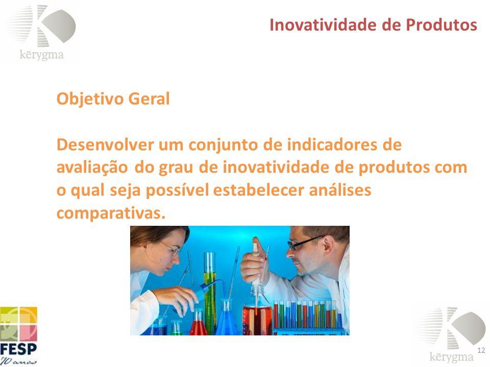 12 Inovatividade de Produtos Objetivo Geral Desenvolver um conjunto de indicadores de avaliação do grau de inovatividade de produtos com o qual seja p