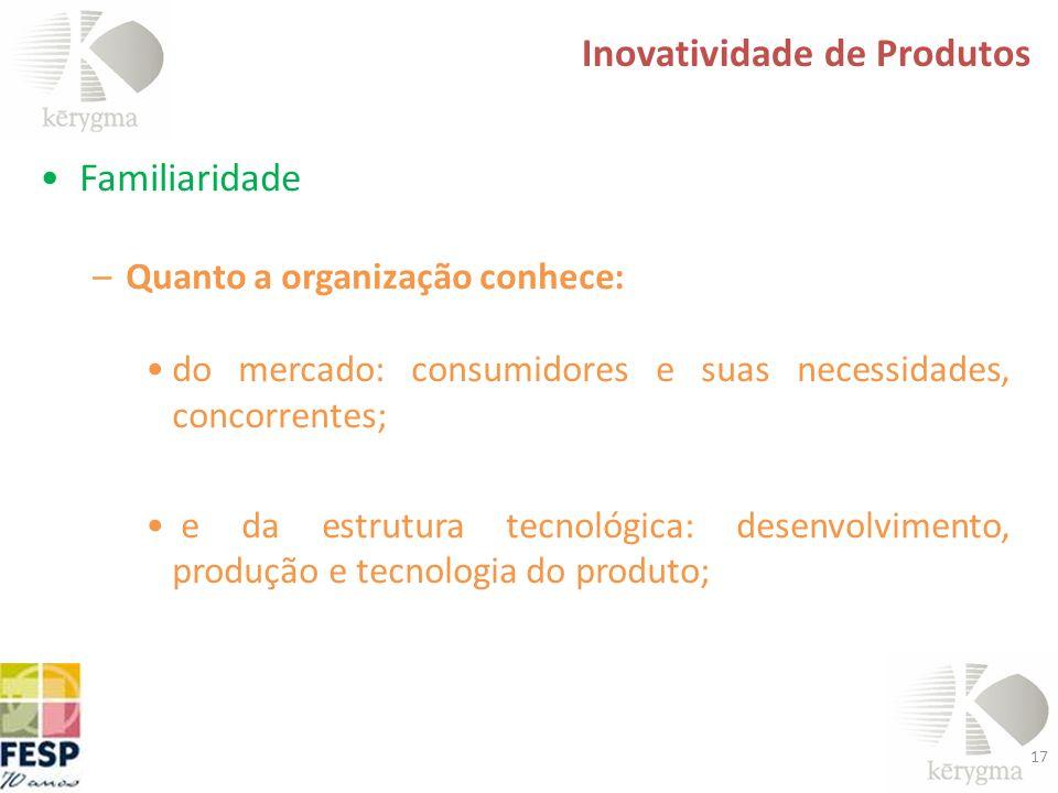 17 Inovatividade de Produtos Familiaridade –Quanto a organização conhece: do mercado: consumidores e suas necessidades, concorrentes; e da estrutura t