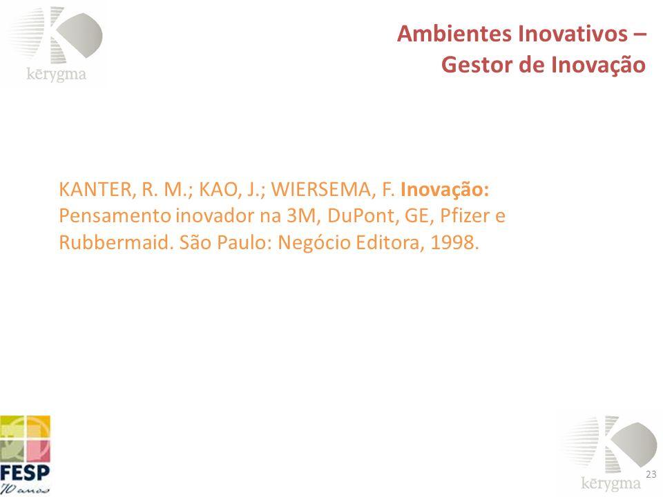 23 Ambientes Inovativos – Gestor de Inovação KANTER, R. M.; KAO, J.; WIERSEMA, F. Inovação: Pensamento inovador na 3M, DuPont, GE, Pfizer e Rubbermaid