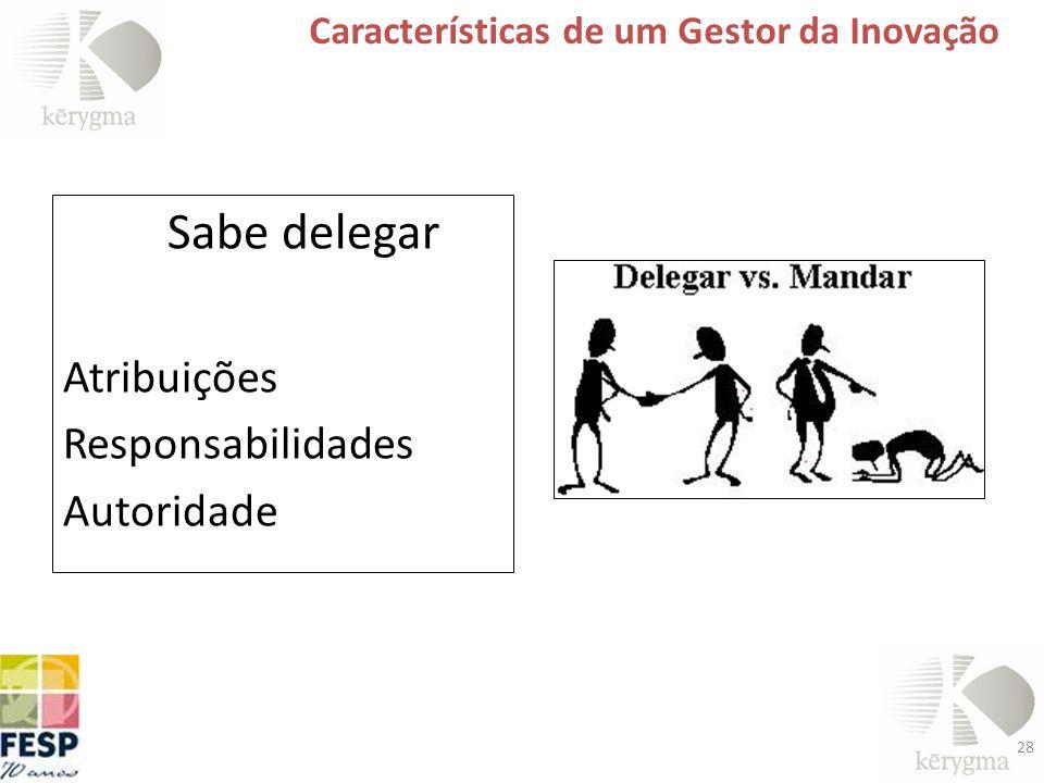 28 Características de um Gestor da Inovação Sabe delegar Atribuições Responsabilidades Autoridade