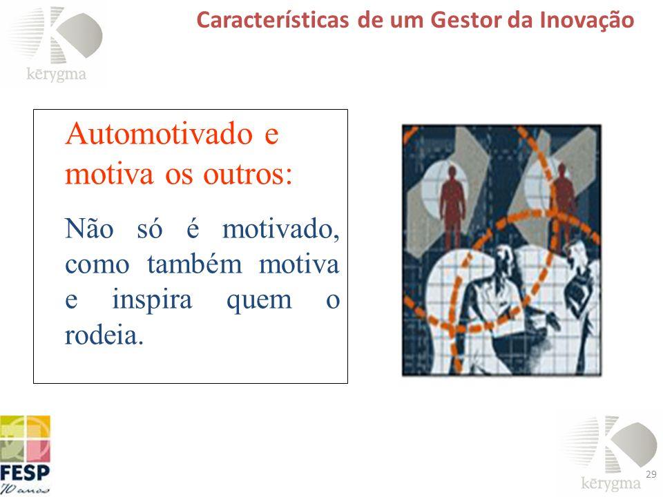 29 Características de um Gestor da Inovação Sabe delegar Atribuições Responsabilidades Autoridade Automotivado e motiva os outros: Não só é motivado,