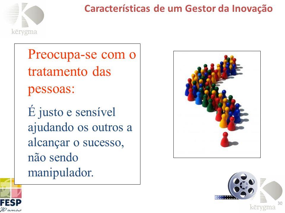 30 Características de um Gestor da Inovação Preocupa-se com o tratamento das pessoas: É justo e sensível ajudando os outros a alcançar o sucesso, não