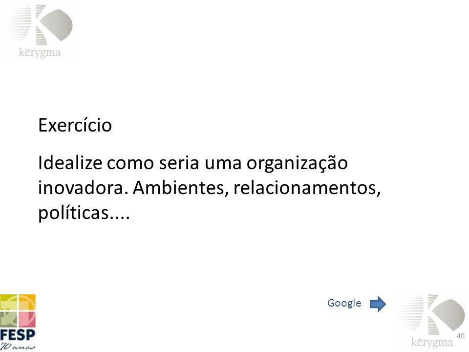 Exercício Idealize como seria uma organização inovadora. Ambientes, relacionamentos, políticas.... Google 40