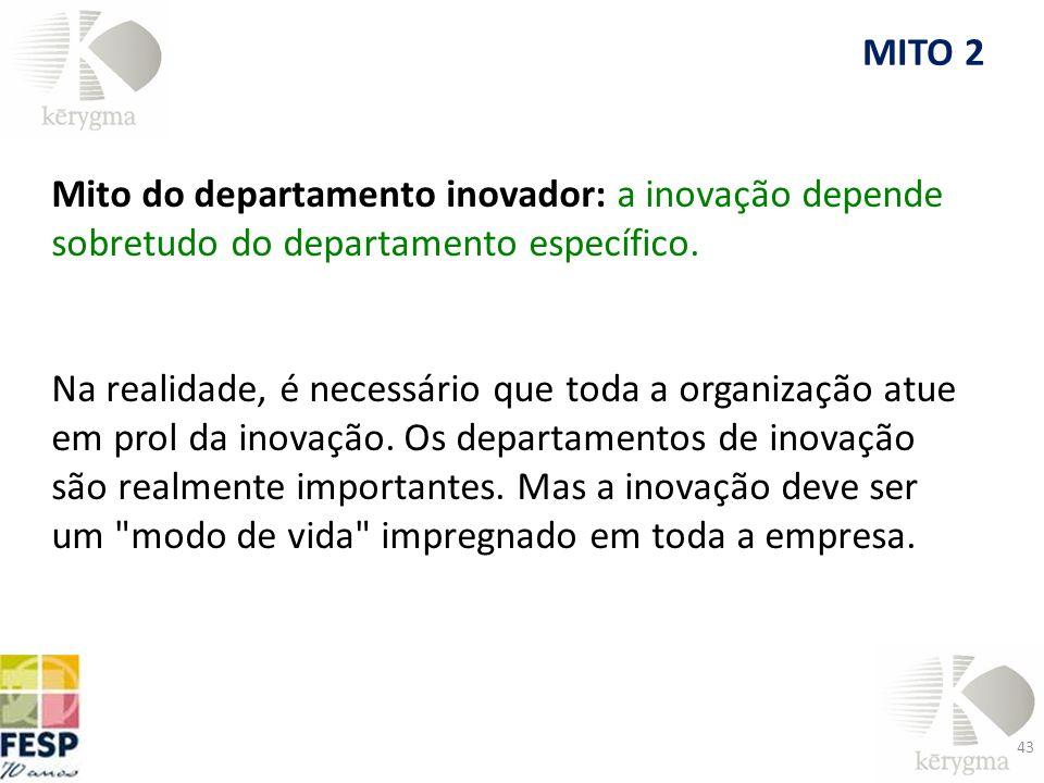 Mito do departamento inovador: a inovação depende sobretudo do departamento específico. Na realidade, é necessário que toda a organização atue em prol