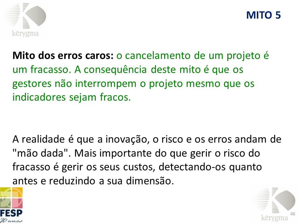 Mito dos erros caros: o cancelamento de um projeto é um fracasso. A consequência deste mito é que os gestores não interrompem o projeto mesmo que os i