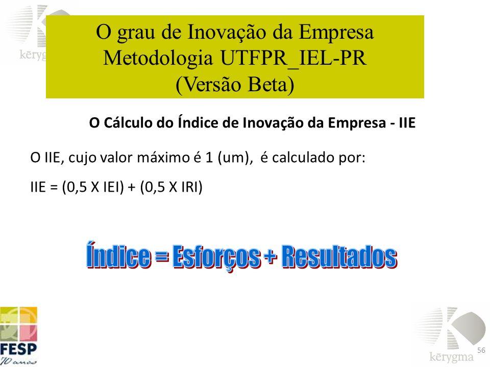 56 O Cálculo do Índice de Inovação da Empresa - IIE O IIE, cujo valor máximo é 1 (um), é calculado por: IIE = (0,5 X IEI) + (0,5 X IRI) O grau de Inov