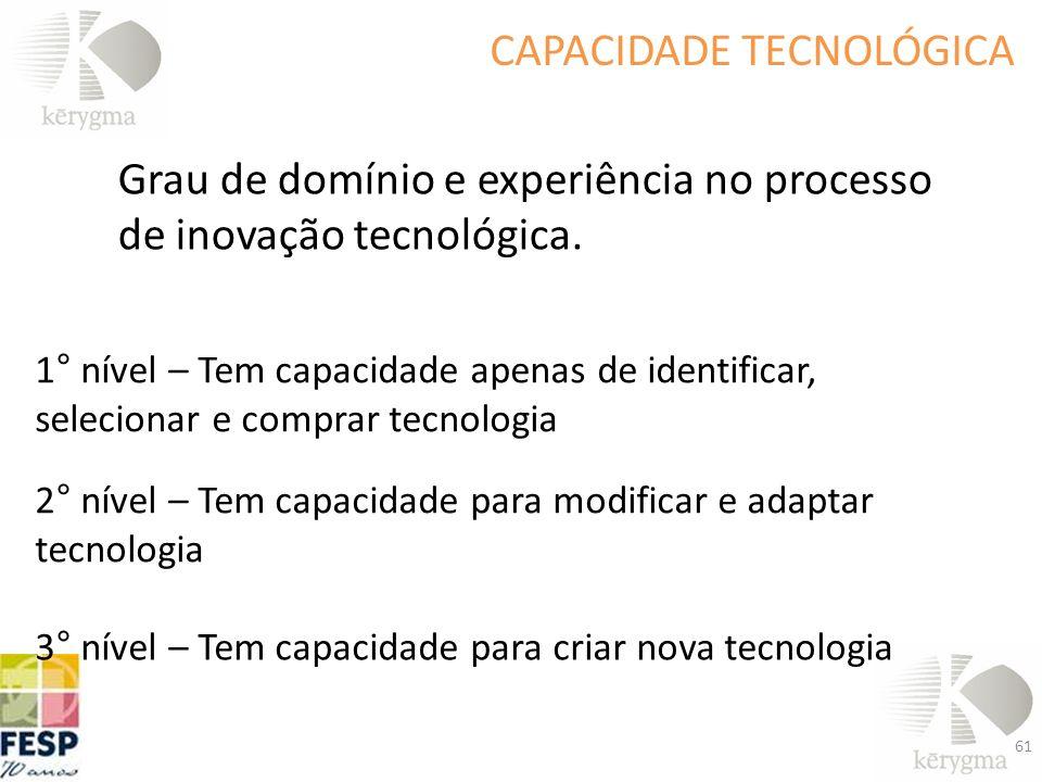 Grau de domínio e experiência no processo de inovação tecnológica. CAPACIDADE TECNOLÓGICA 1° nível – Tem capacidade apenas de identificar, selecionar