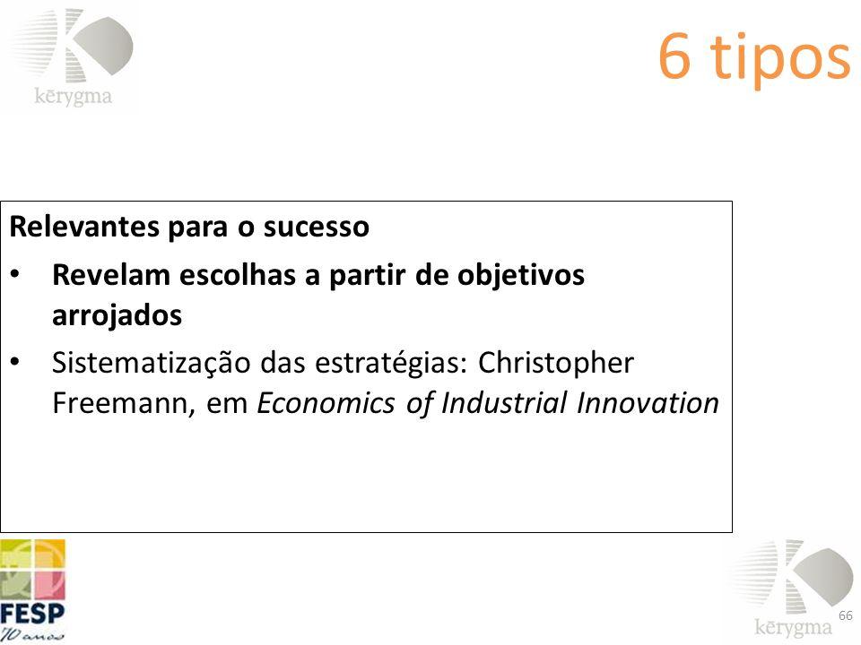 6 tipos Relevantes para o sucesso Revelam escolhas a partir de objetivos arrojados Sistematização das estratégias: Christopher Freemann, em Economics