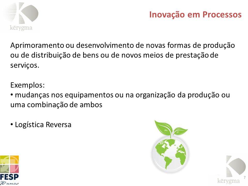 7 Aprimoramento ou desenvolvimento de novas formas de produção ou de distribuição de bens ou de novos meios de prestação de serviços. Exemplos: mudanç