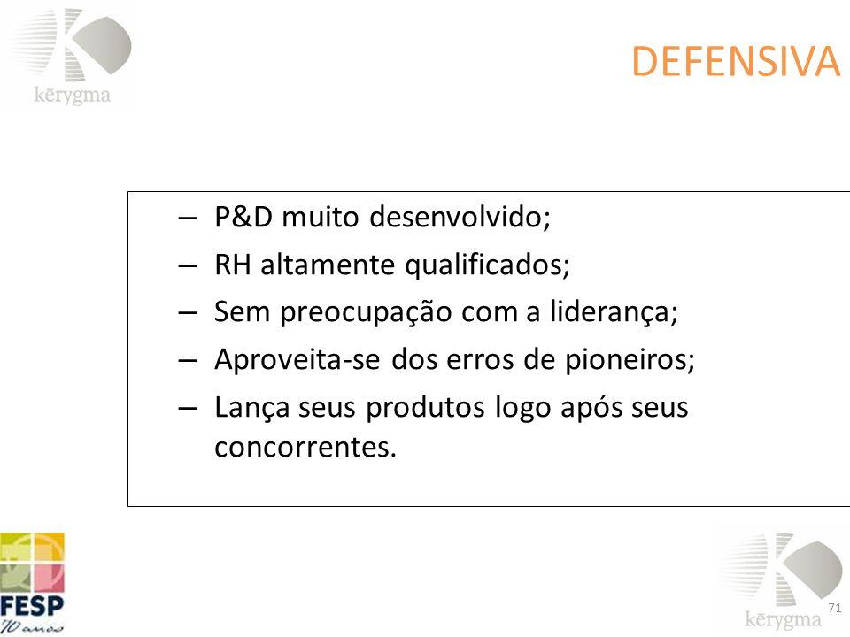 – P&D muito desenvolvido; – RH altamente qualificados; – Sem preocupação com a liderança; – Aproveita-se dos erros de pioneiros; – Lança seus produtos