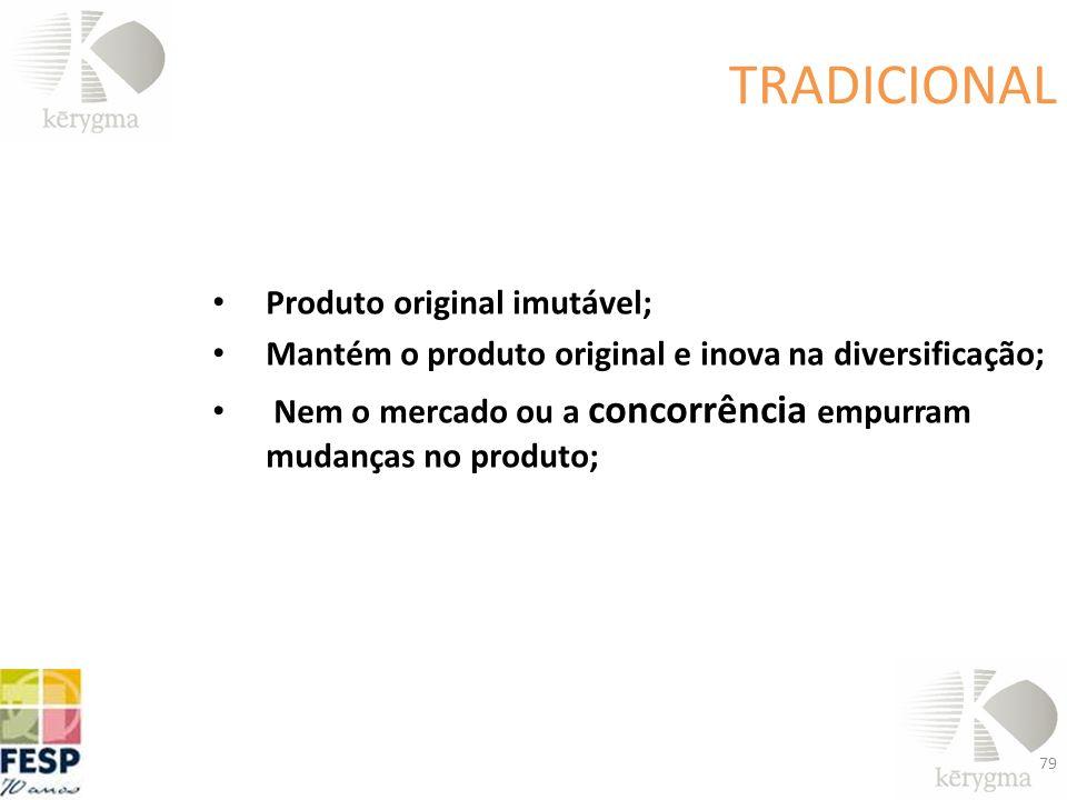 TRADICIONAL Produto original imutável; Mantém o produto original e inova na diversificação; Nem o mercado ou a concorrência empurram mudanças no produ