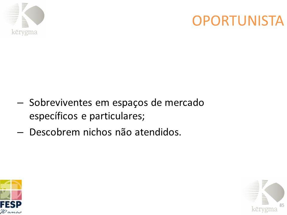 OPORTUNISTA – Sobreviventes em espaços de mercado específicos e particulares; – Descobrem nichos não atendidos. 85