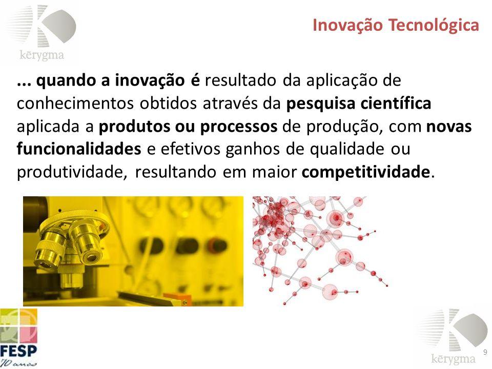 9 Inovação Tecnológica... quando a inovação é resultado da aplicação de conhecimentos obtidos através da pesquisa científica aplicada a produtos ou pr