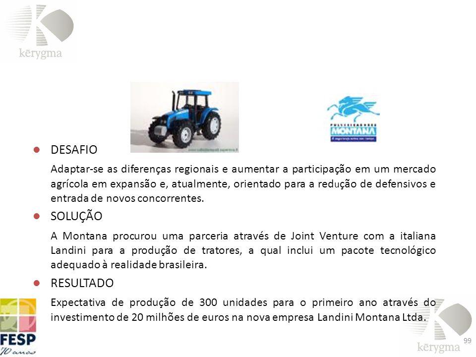 DESAFIO Adaptar-se as diferenças regionais e aumentar a participação em um mercado agrícola em expansão e, atualmente, orientado para a red u ção de d
