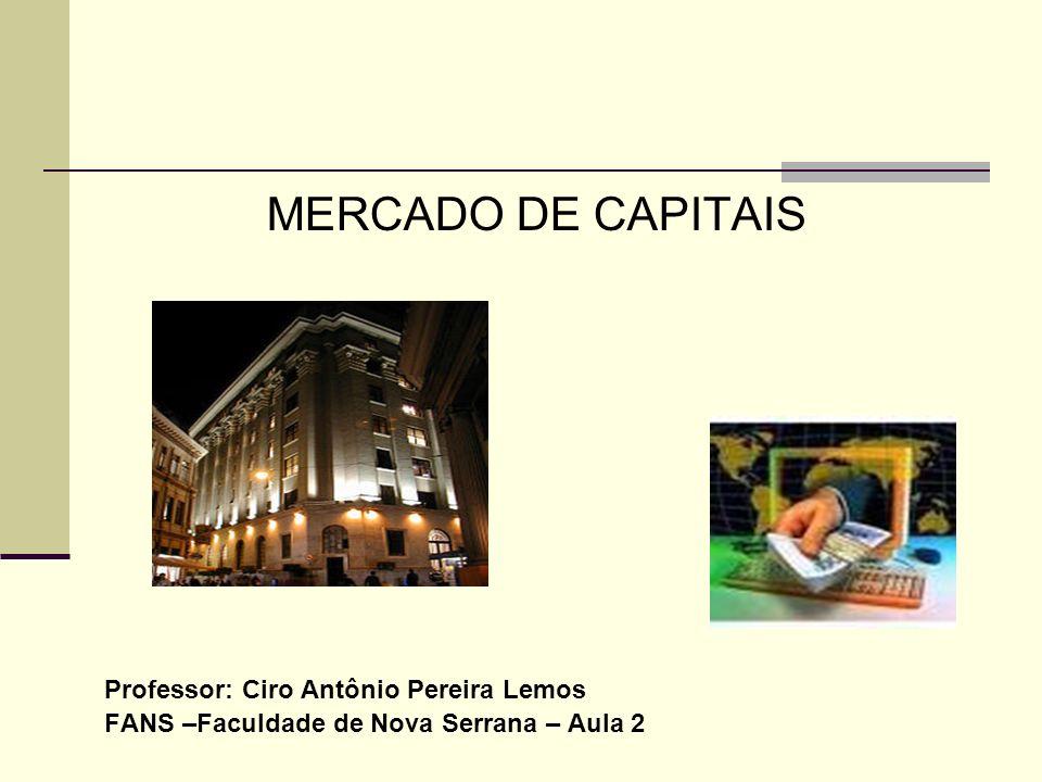 MERCADO DE CAPITAIS Professor: Ciro Antônio Pereira Lemos FANS –Faculdade de Nova Serrana – Aula 2