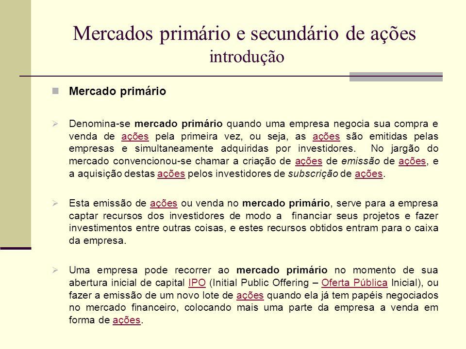 Mercados primário e secundário de ações introdução Mercado primário Denomina-se mercado primário quando uma empresa negocia sua compra e venda de açõe