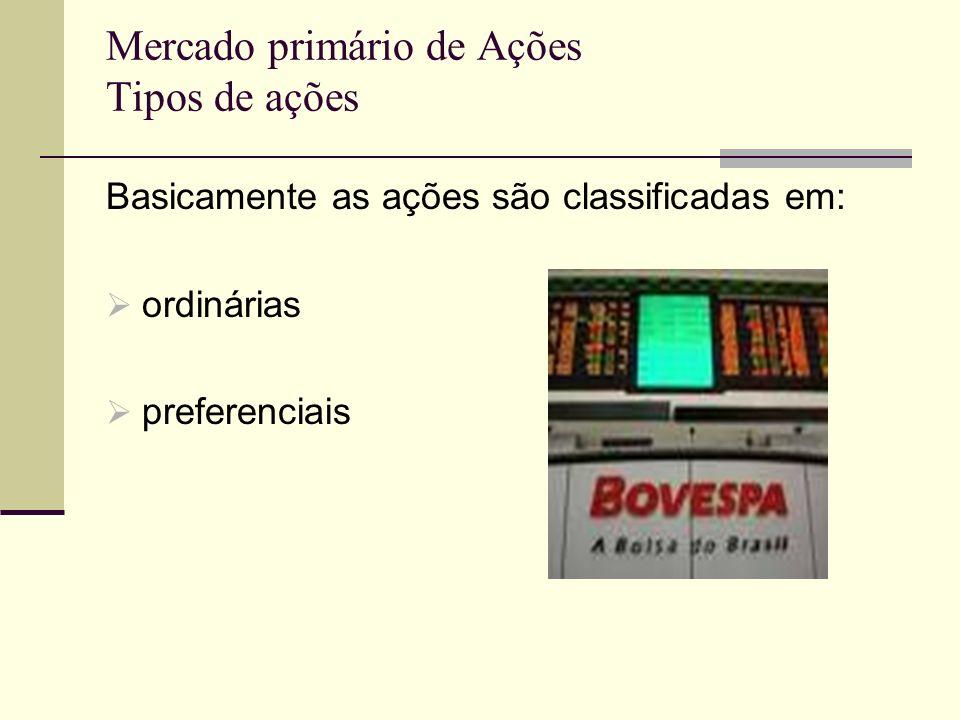 Mercado primário de Ações Tipos de ações Basicamente as ações são classificadas em: ordinárias preferenciais