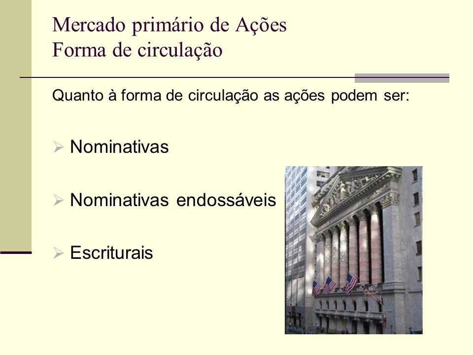 Mercado primário de Ações Forma de circulação Quanto à forma de circulação as ações podem ser: Nominativas Nominativas endossáveis Escriturais