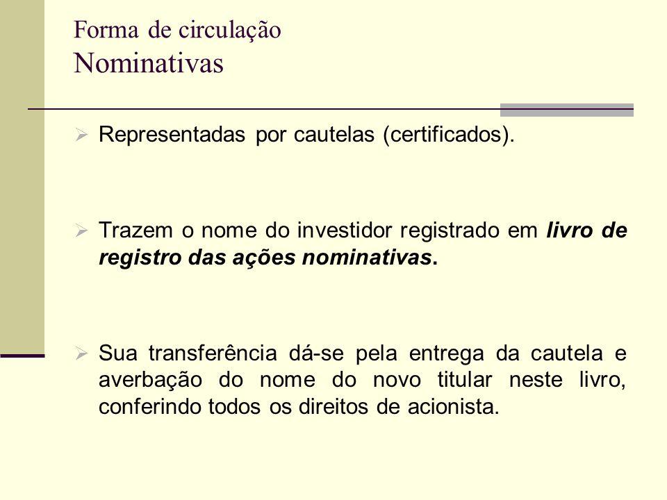 Forma de circulação Nominativas Representadas por cautelas (certificados). Trazem o nome do investidor registrado em livro de registro das ações nomin