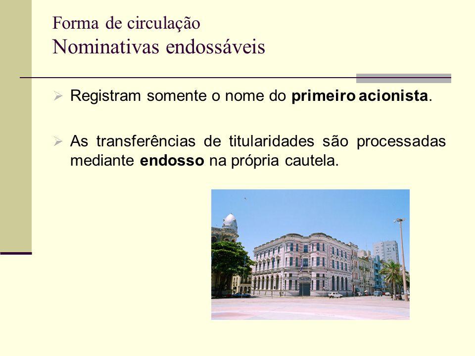 Forma de circulação Nominativas endossáveis Registram somente o nome do primeiro acionista. As transferências de titularidades são processadas mediant