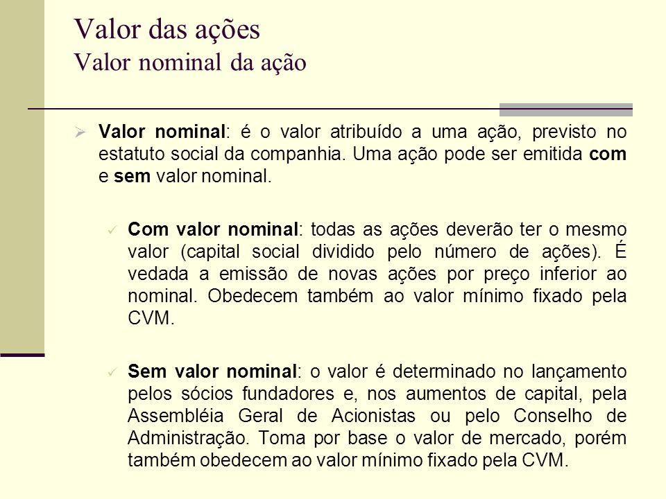 Valor das ações Valor nominal da ação Valor nominal: é o valor atribuído a uma ação, previsto no estatuto social da companhia. Uma ação pode ser emiti