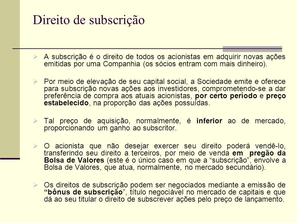 Direito de subscrição A subscrição é o direito de todos os acionistas em adquirir novas ações emitidas por uma Companhia (os sócios entram com mais di