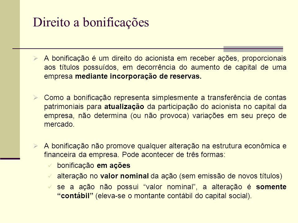 Direito a bonificações A bonificação é um direito do acionista em receber ações, proporcionais aos títulos possuídos, em decorrência do aumento de cap