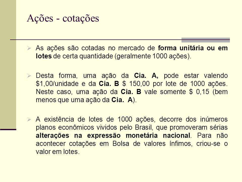 Ações - cotações As ações são cotadas no mercado de forma unitária ou em lotes de certa quantidade (geralmente 1000 ações). Desta forma, uma ação da C